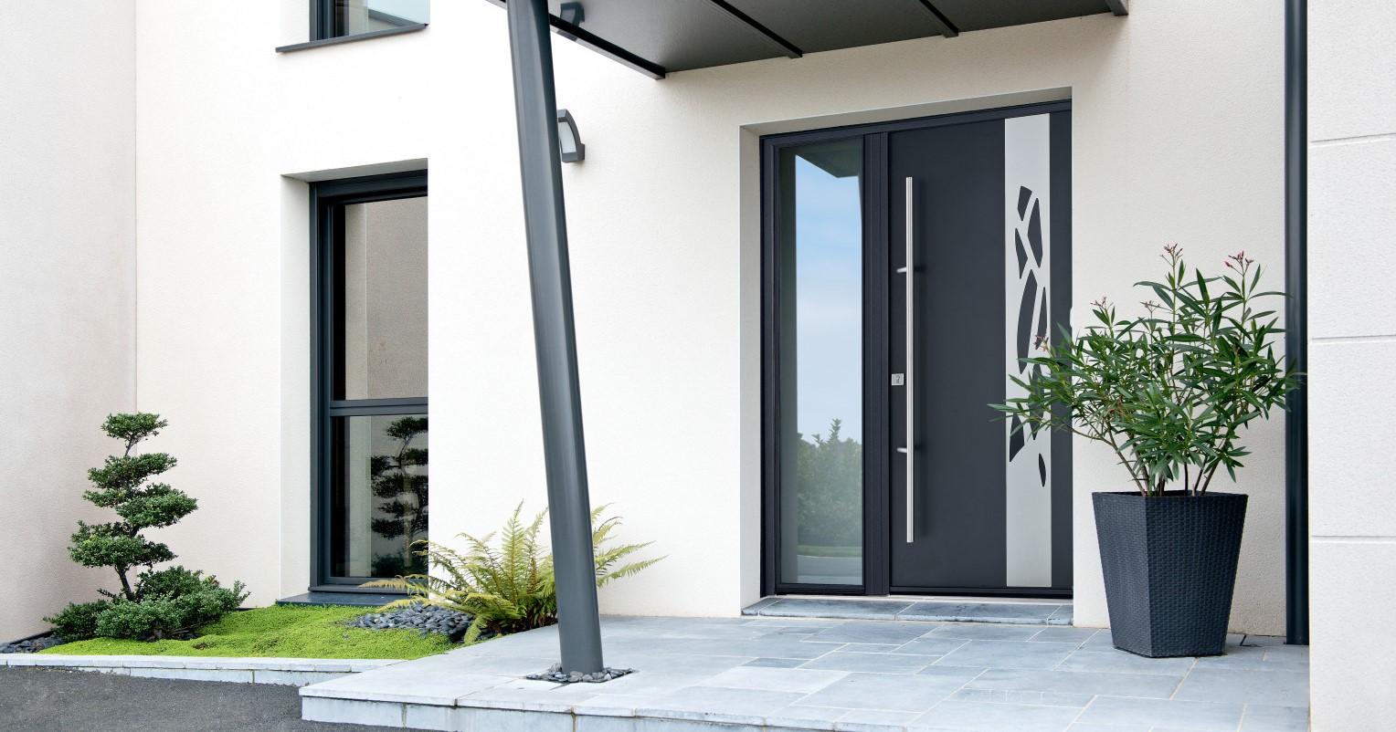 Porte d'entrée moderne en aluminium - Komilfo