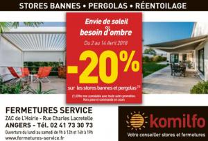 Profitez de remises exceptionnelles sur les stores et pergolas avec Fermetures Service à Angers !