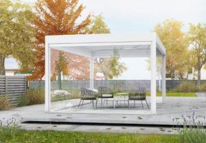 Pergola bioclimatique posée par Géniès Expo à Auxerre (Yonne)