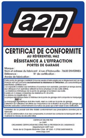 Porte de garage sectionnelle certifiée A2P CNPP