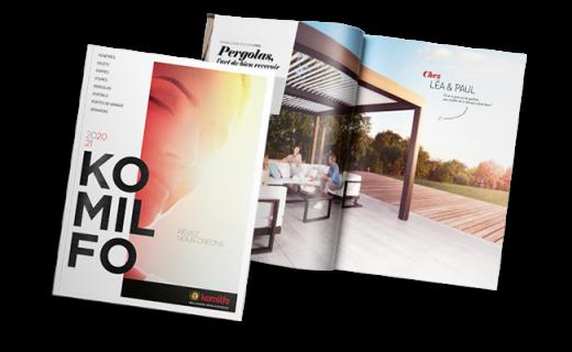 Catalogue Komilfo avec nos modèles de pergola sur-mesure