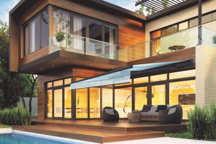 Store extérieur semi-coffre sur une maison design - Komilfo