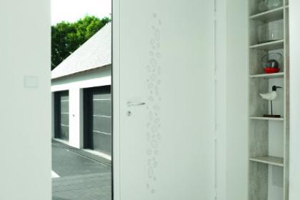 Porte d'entrée contemporaine fixe latéral vitré