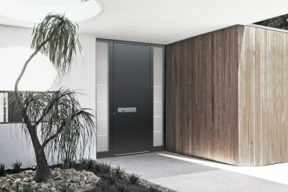 Porte d'entrée premium Komilfo avec poignée encastrable sur-mesure