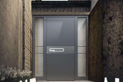 Porte d'entrée design Komilfo avec éclairage extérieur sur-mesure