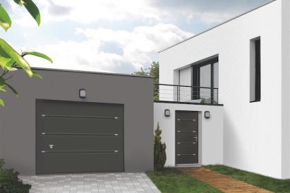 Porte de garage sectionnelle coordonnée design