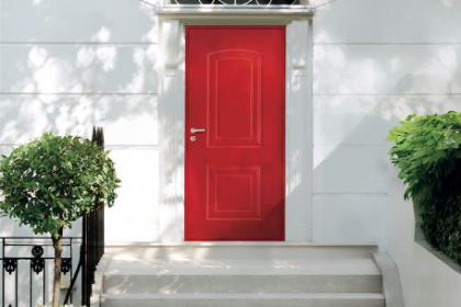 Porte d'entrée blindée rouge de marque Picard