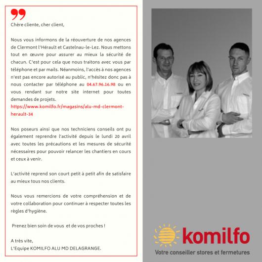 Réouverture de notre magasin Komilfo Alu MD à Clermont-l'Hérault (34)