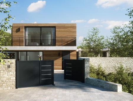 Portail design battant aluminium deux vantaux Horizal