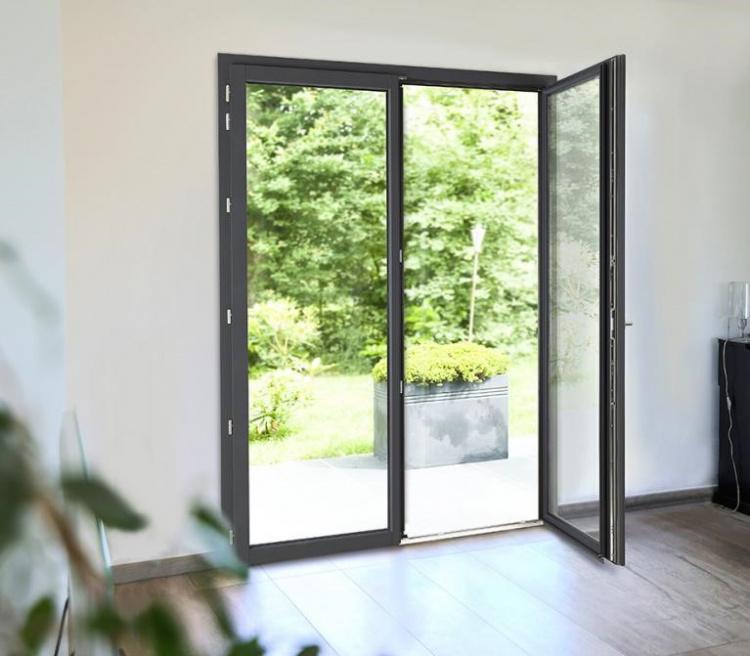 Porte-fenêtre mixte bois aluminium finition Pin ardoise à l'intérieur - Komilfo