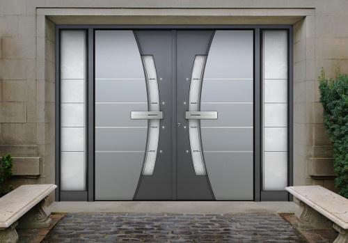 Porte d'entrée double vantaux sur-mesure grise Komilfo