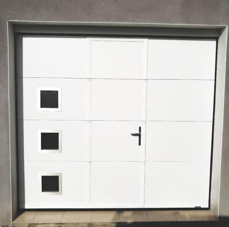 porte de garage sectionnelle blanc acier alu isolée motorisée 34 clermont l'hérault montpellier