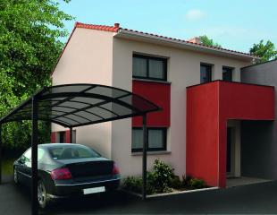 Abri de voiture ou carport disponible au sein du réseau Komilfo, spécialiste de l'installation de portes de garage