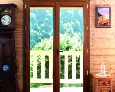 Porte-fenêtre PVC bois