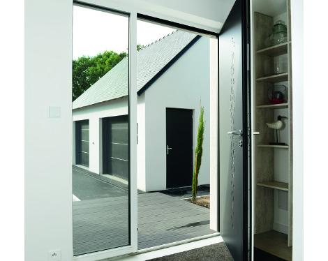 Porte d'entrée contemporaine fixe latérale vitré ouverte