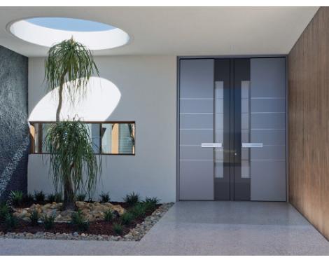 Portes d entr e double vantaux sur mesure pvc bois alu acier et mixtes komilfo - Porte d entree 2 vantaux tierces ...
