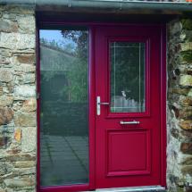 Porte d'entrée traditionnelle aluminium rouge