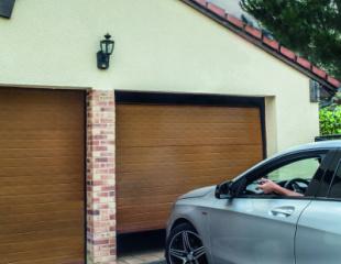 Porte de garage sectionnelle chêne