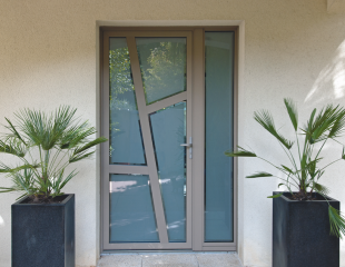 Porte d'entrée mixte bois aluminium sur mesure Nantes