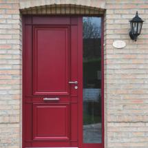 Porte d'entrée mixte bois aluminium rouge Lille